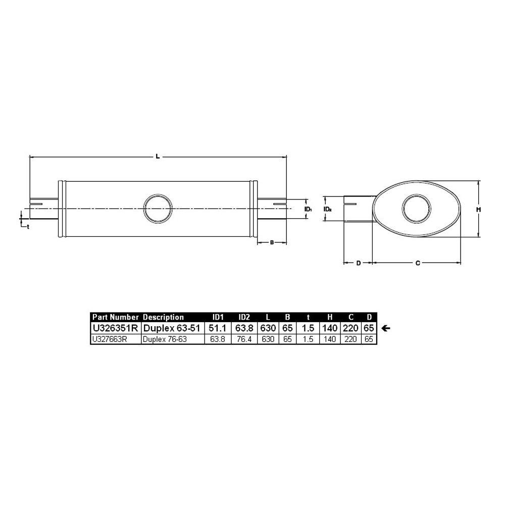 3st abrazadera de tubo de escape de tubos perchas abrazadera u-bolt CLAMP m10 x 65 mm plana perchas abrazadera